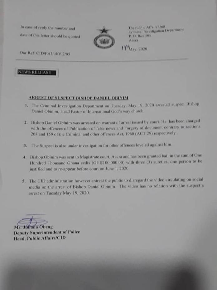 Bishop Obinim charged- Read CID letter