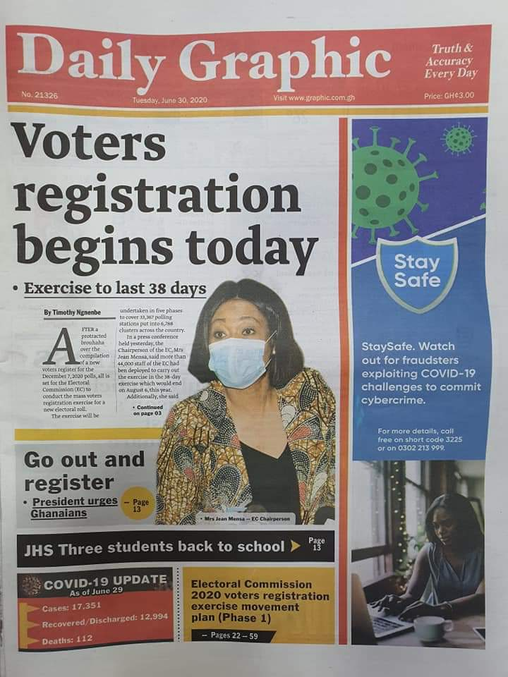 Front pages: Top Stories in Ghana's Newspapers June 30