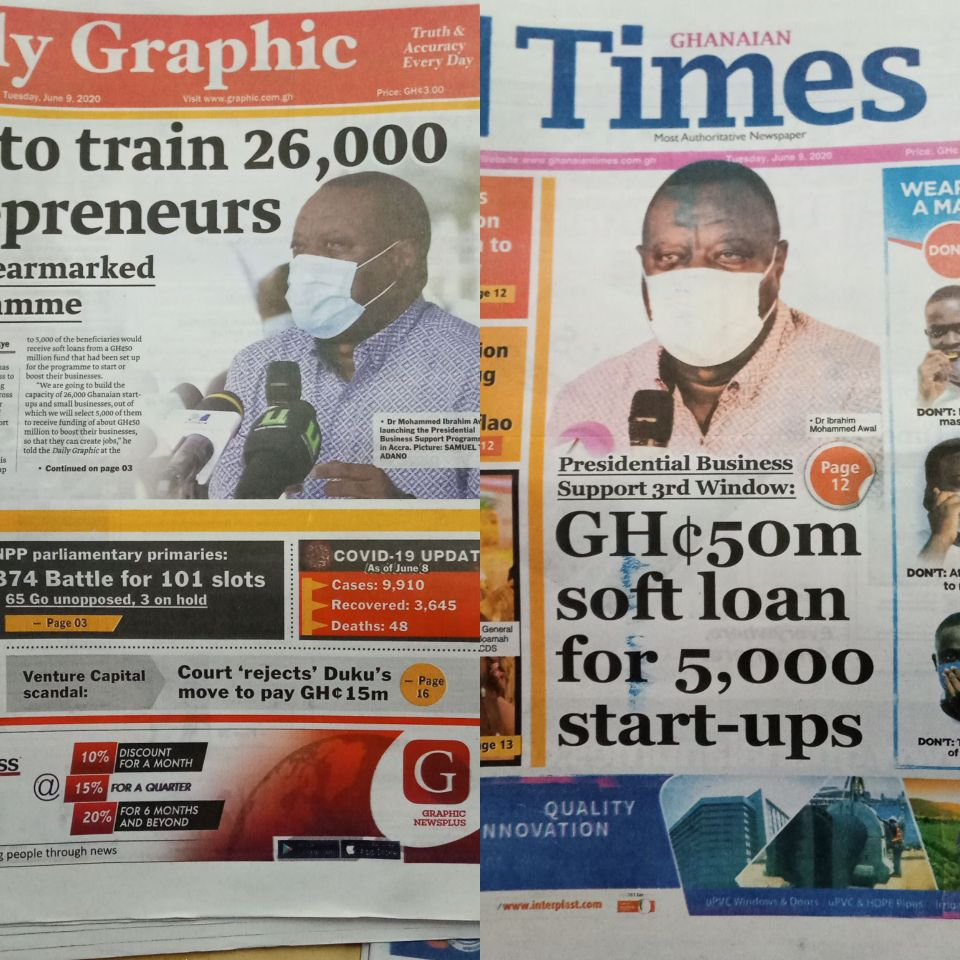 Today's front pages: Top Stories in Ghana's News papers June 9, 2020