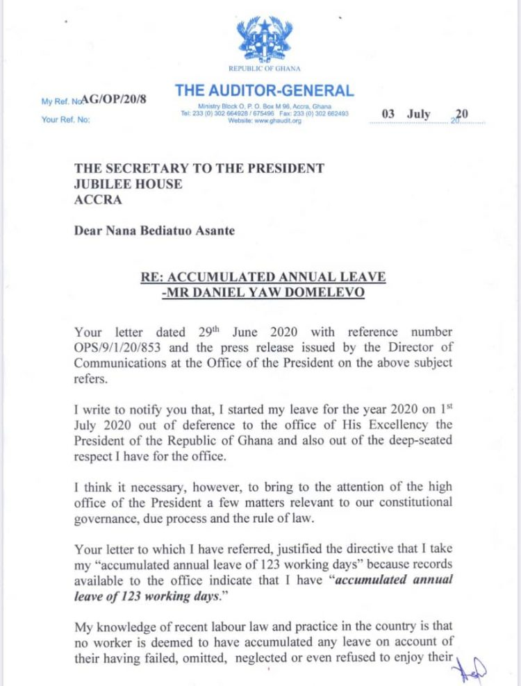 My leave directive unconstitutional, reconsider it – Domelevo to Akufo-Addo