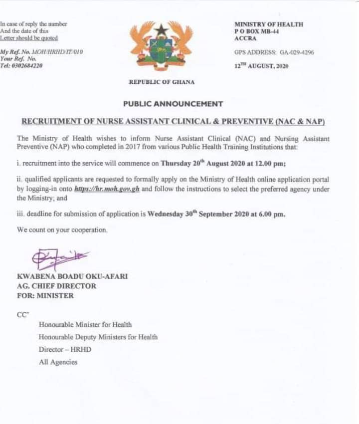 PUBLIC ANNOUNCEMENT: Ministry of Health announces the latest Nationwide recruitment
