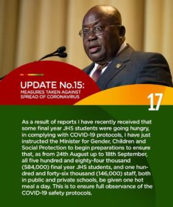President Akufo-Addo announces food package for JHS students