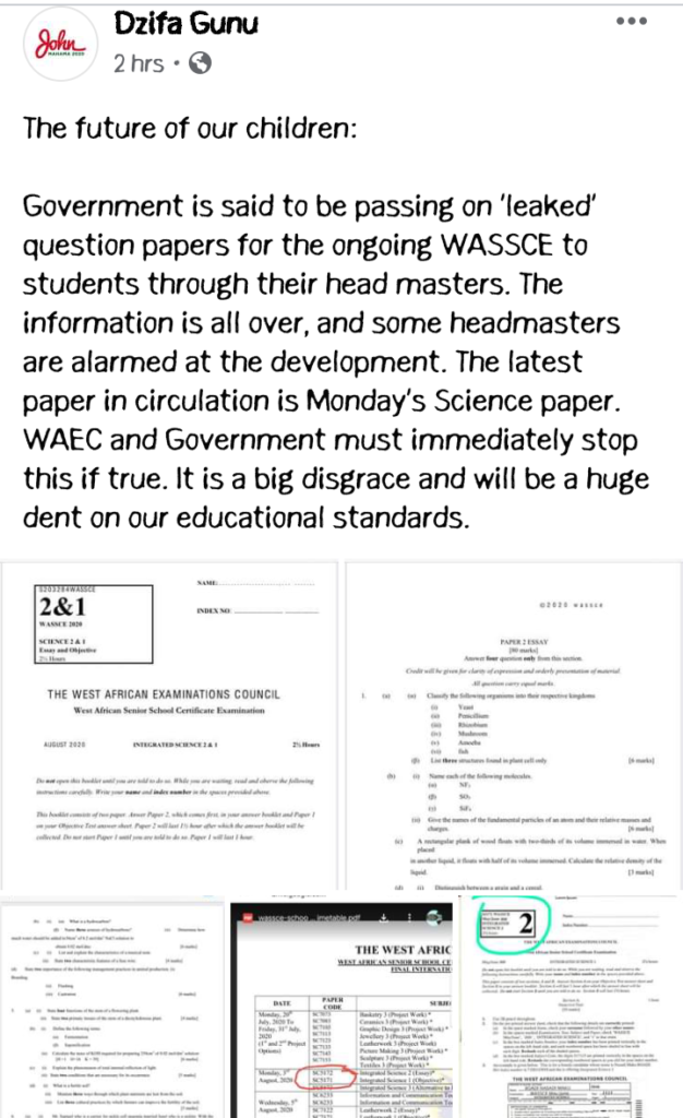 BREAKING: NDC's Dzifa Gunu shares 'leaked' WASSCE Science QUESTIONS (PHOTOS)