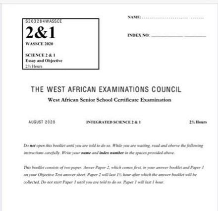 BREAKING: NDC's Dzifa Gunu shares 'leaked' WASSCE Science QUESTIONS (PHOTOS)