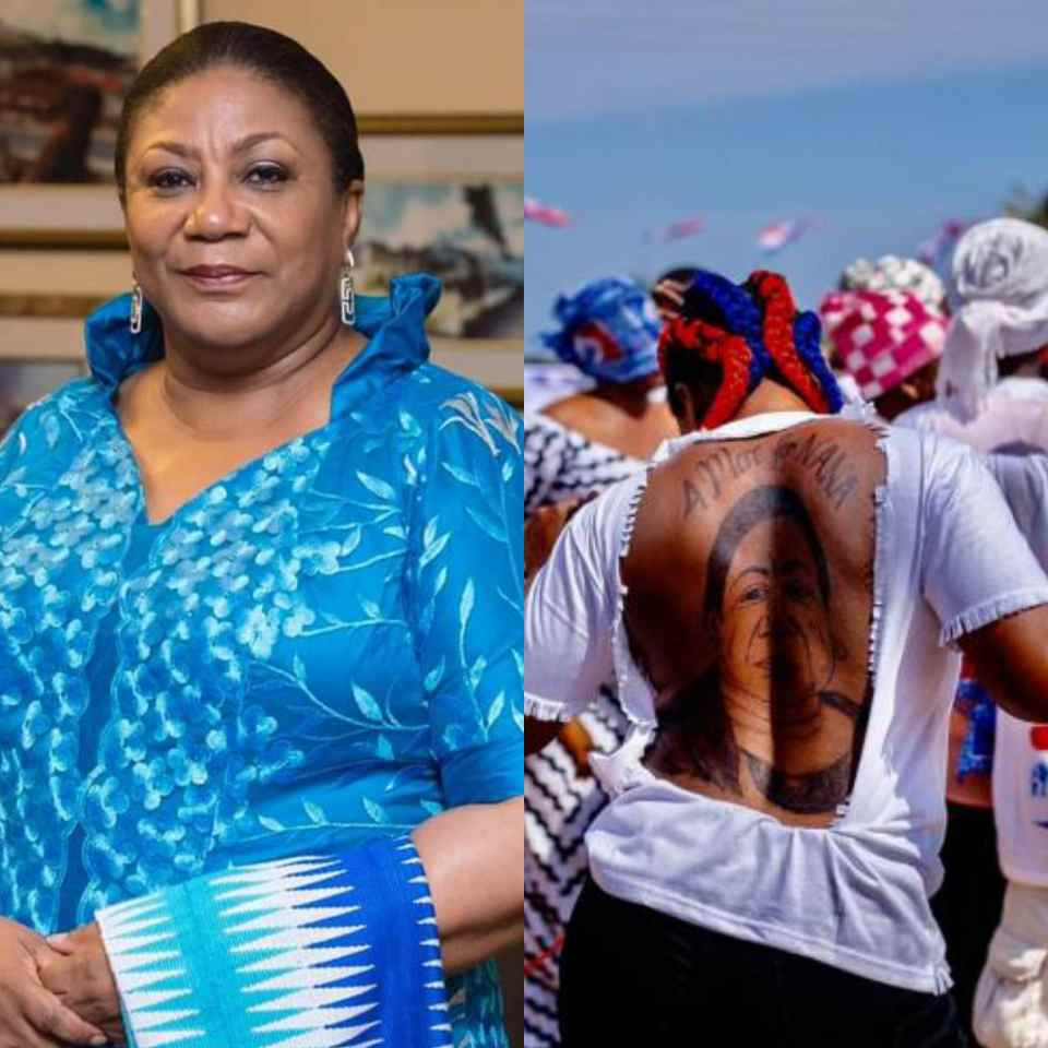 PHOTOS: Ghanaian lady tattoos 4 more for Nana and a picture of the first lady at her back