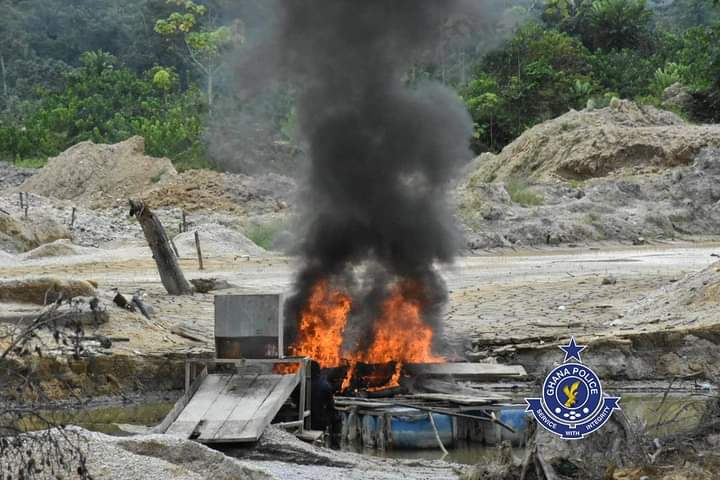GALAMSEY: Operation Vanguard destroys 59 Changfang Motors(PHOTOS)