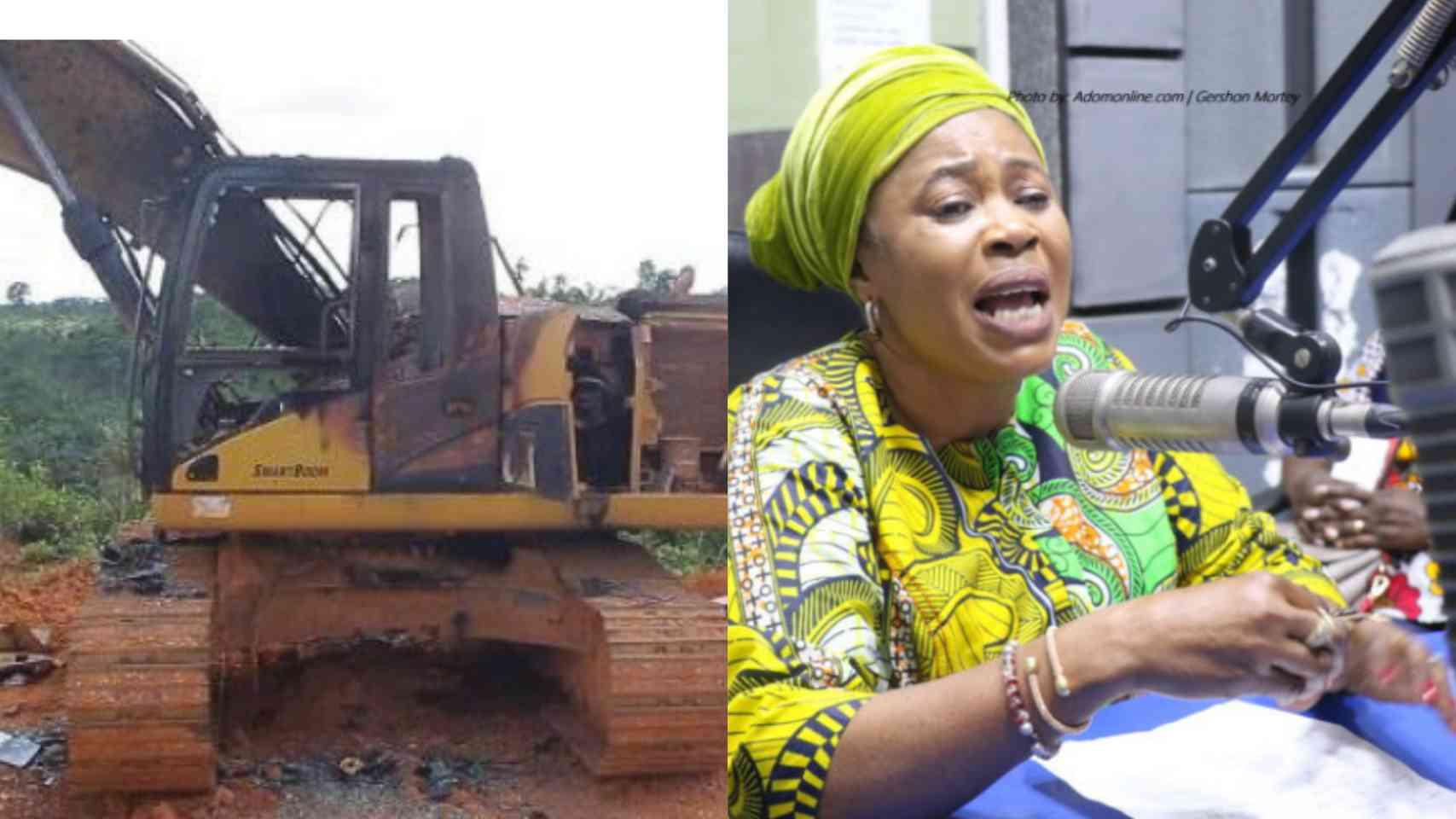 Galamsey: Excavators of top NPP Executive burnt