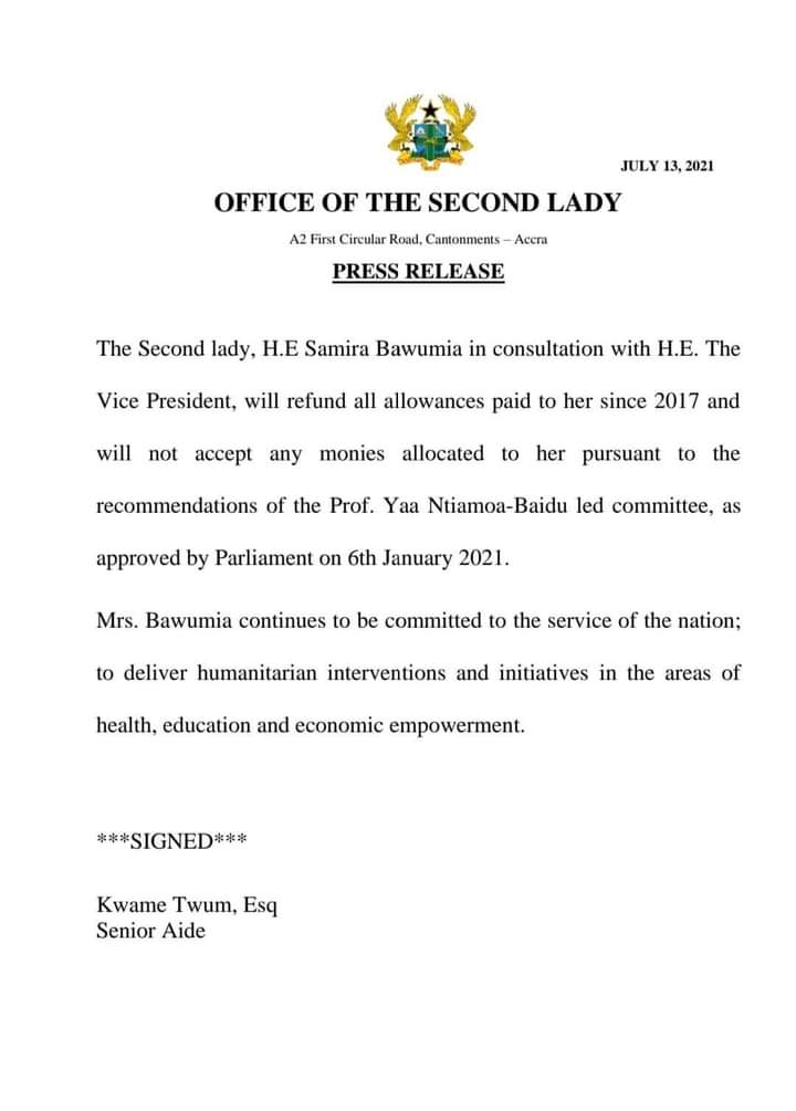 Mrs. Bawumia rejects allowances